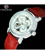 FORSINING Crystal women's, skeleton automatic mechanical watch with leat... - $39.99