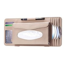 PANDA SUPERSTORE Leather Car Visor Tissue Case & CD Holder (3015CM, Beige) image 1