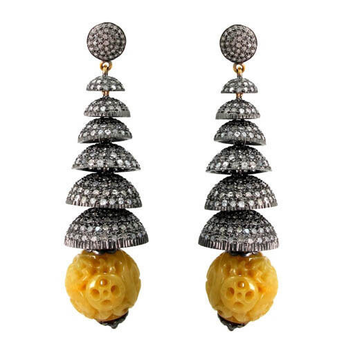 Primary image for Carved MOP Gemstone 14k Gold Pave 8.85ct Diamond Silver Chandelier Fine Earrings