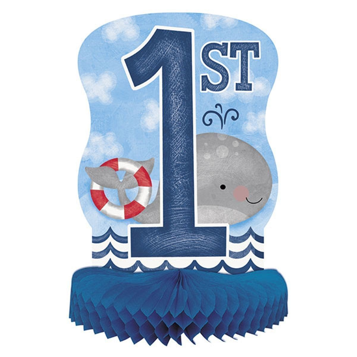 Nautical 1st Birthday Centerpiece Honeycomb 14""