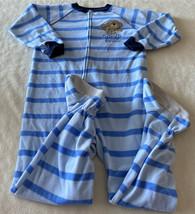 Child Of Mine Boys Blue Striped Monkey Banana Fleece Long Sleeve Pajamas 5T - $6.43