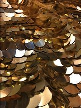"""Gold Sparkle Dangle Sequins With Mesh 56"""" Wide Fabric Sold By The Yard - $24.45"""