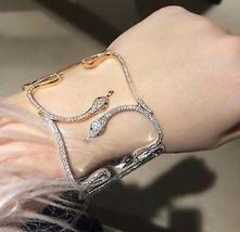 Snake Style Pave Polki 5.25Ctw Rose Cut Diamond Antique Single Bracelet ... - $2,100.00