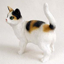 SHORTHAIRED CALICO CAT Figurine Statue Hand Painted Resin Gift Standing - $17.25