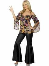 Costume Hippie, Femelle, 1960's Groovy Déguisement, UK Taille 24-26 - $37.25