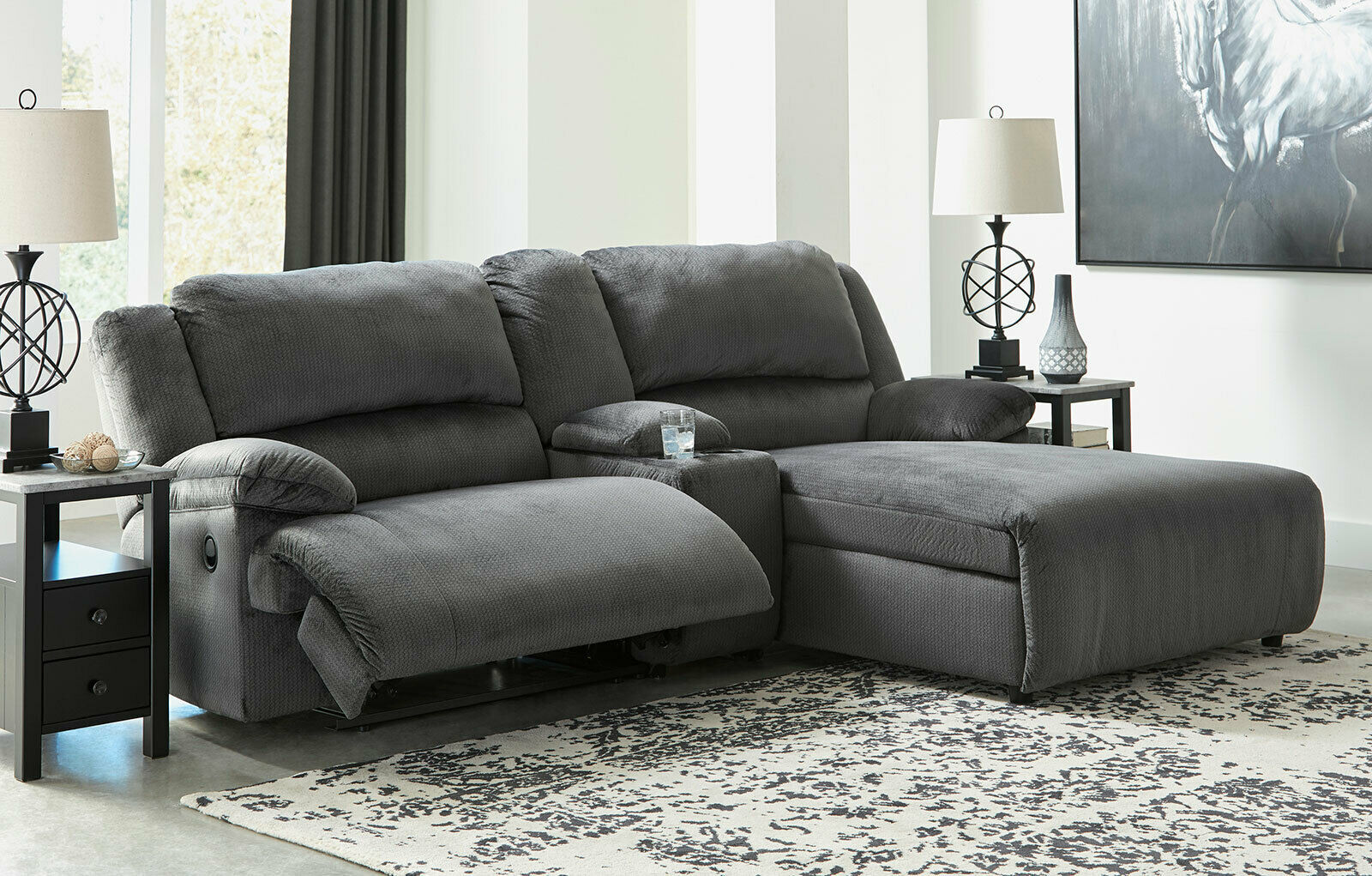 NAPLES Living Room Sectional Gray Microfiber Reclining ...
