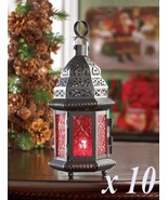 RED GLASS Small Moroccan Lanterns Black Metal Candle Holder Lot of 10 - $87.20