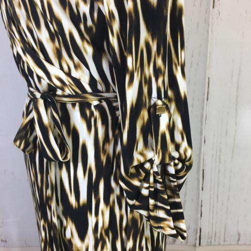 Calvin Klein Animal Print Jersey Knit Wrap Dress Size 14 3/4 Sleeves