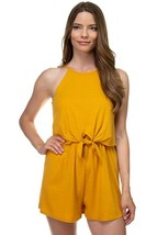 One Piece Bright Yellow Sleeveless Romper Ribbed Front Tie Shorts Jumpsu... - $22.76