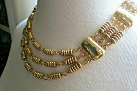 Monet Necklace Gold Plated Triple Strand Designer Hammered 1980s Vintage... - $24.74