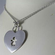 925 SILVER, AQUAFORTE NECKLACE, RHODIUM SILVER, HEART & BABY CHARM, SUPERLIGHT. image 3
