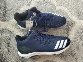 Adidas Icon Bounce Mid Metal Baseball Cleats Men's Size 14 navy blk white cg5176 - $35.00