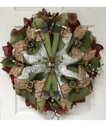 Winter Deco Mesh And Burlap Ski Wreath Handmade - $92.99