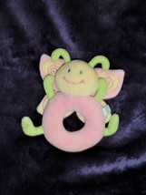 """KOALA BABY Butterfly ring rattle Pink Yellow Green vintage - 5""""H - $9.89"""