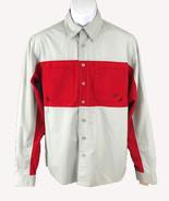 FOX Men's Long Sleeve Button Down Riding Shirt Gray Red Stripe Sz: Small - $8.91