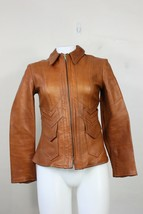 vintage Natural Comfort leather jacket XS east west 60's 70's fitted - $250.00