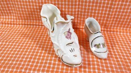 Pair Vintage Porcelain Shoes Large & Small, Crown Stafford - $9.49