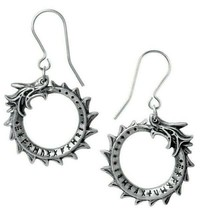 Alchemy Gothic Jormungand Ouroboros Dangling Earrings Surg Steel Hooks E... - $14.95