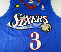 ALLEN IVERSON / NBA HALL OF FAME / AUTOGRAPHED 76ERS BLUE THROWBACK JERSEY / COA image 2