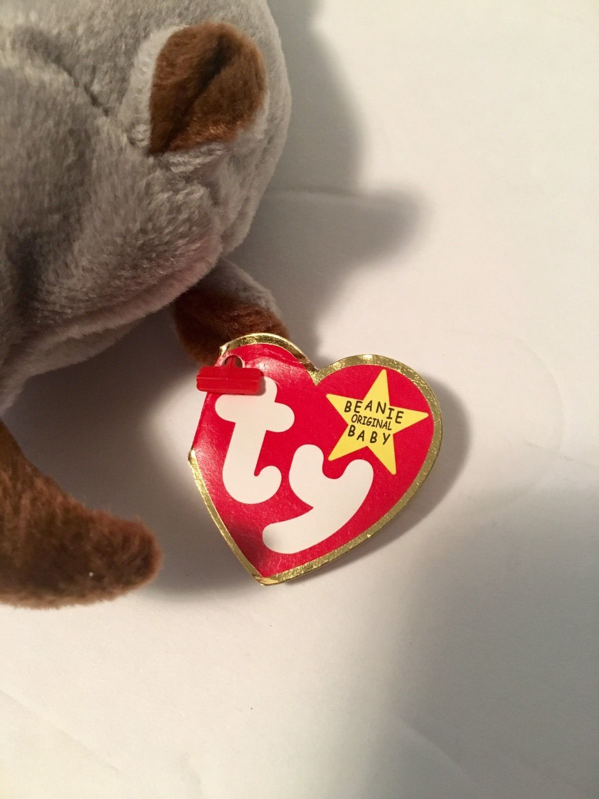 Ty Beanie Babies Plush Beanbag Spike the Rhino Grey with Brown Horn