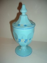 Westmoreland Handpainted Artist Signed Lidded Compote Light Blue - $29.99