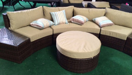 Outdoor Sofa 6 pc Sectional Wicker Brown Las Vegas Patio Furniture And Garden image 1