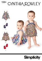 Simplicity 1594 Babies' Romper And Shoes In Four Sizes ~ (Size XXS-L) Sewing Pat - $11.76