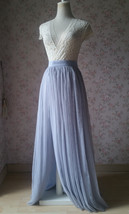 Adult Maxi Tulle Skirt with Slit Silver Gray Bridal High Slit Tulle Skirt Plus  image 2