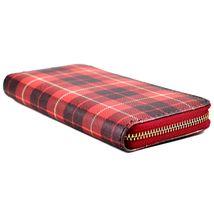 Checkered Red Black Plaid Print Vinyl Zipper Clutch Wallet New image 4