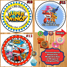 Super Wings Birthday Stickers 1 Sheet Round Favor Label Candy Personalized - $5.75