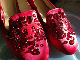 NEW! Tory Burch Red Satin Crystal Embellished Leather DELPHINE Loafers Flats 9 M - $136.62