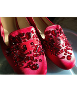 NEW! Tory Burch Red Satin Crystal Embellished Leather DELPHINE Loafers F... - $136.62