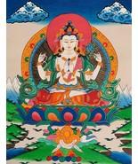 Hand-painted Avalokitesvara Tibetan Thangka Art, Painting on Canvas, 12 ... - $49.90