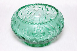 Vintage Collectible Fenton Heavy Teal Green Sawtooth Floral Bowl Decor - $69.00