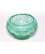 Vintage Collectible Fenton Heavy Teal Green Sawtooth Floral Bowl Decor - $69.00