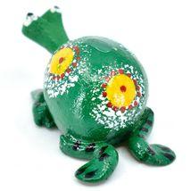Handmade Oaxaca Copal Wood Carving Folk Art Spotted Frog Bobble Head Figurine image 3