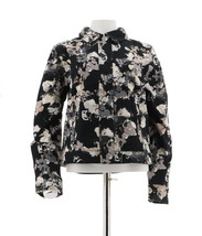 Isaac Mizrahi Allover Watercolor Floral Jacket Black 10 NEW A262067 - $41.56