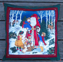 "SANTA CLAUS ST. NICK and CHILDREN CHRISTMAS PILLOW VICTORIAN SCENE 15"" H... - $9.49"