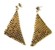 Vintage Gold Metal Mesh Dangle Earrings - $16.00