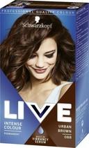 Schwarzkopf Live Hair Dye Colour URBAN BROWN Permanent MEDIUM BROWN +SHI... - $15.89