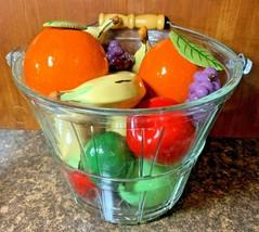 Anchor Hocking Glass Bushel Basket ~ Wood Handle ~ Ceramic Artificial Fruit - $74.24