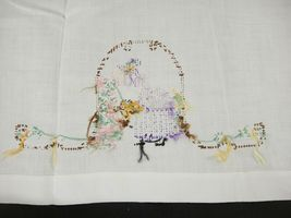 Vintage Hand Embroidered Tea Towels April Showers May Flowers Girl in Garden image 4
