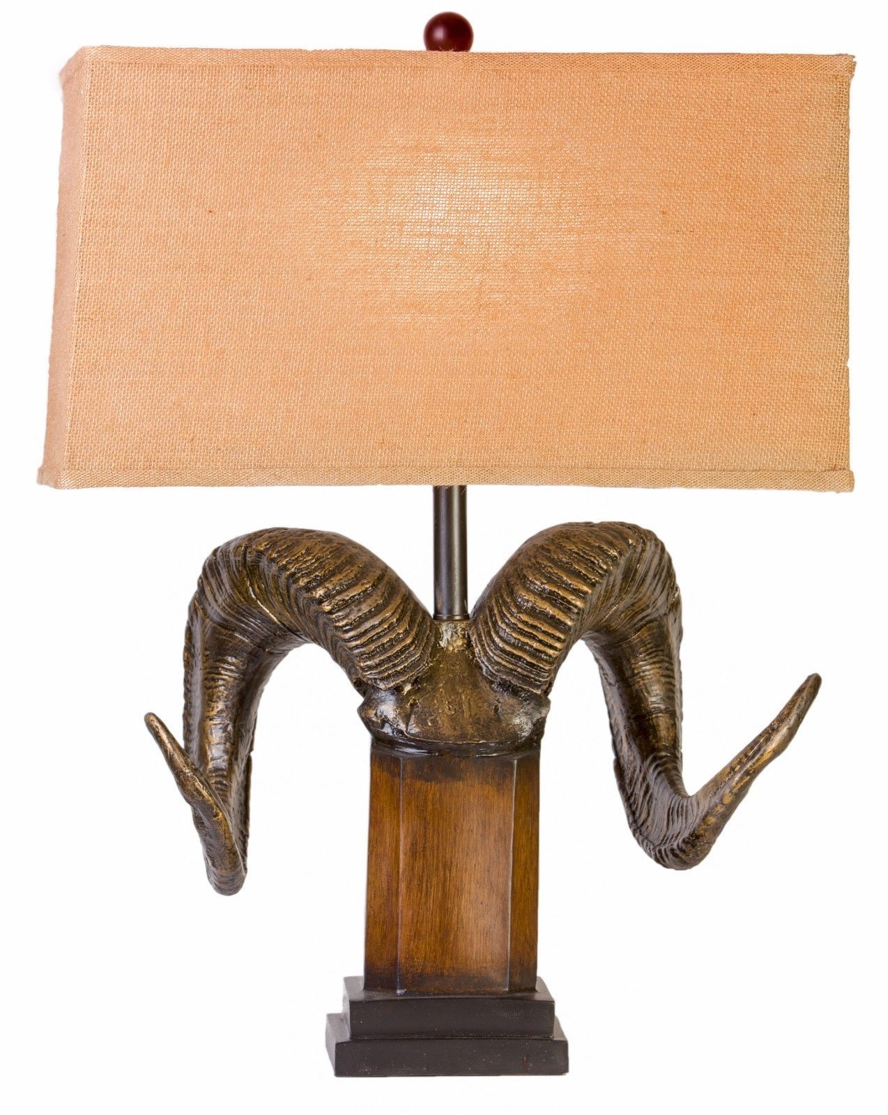 Ram's Horn Table Lamp Bighorn Sheep Antler Rocky Mountain Rustic Cabin Lodge