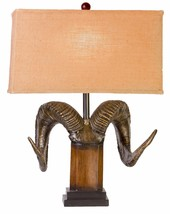 Ram's Horn Table Lamp Bighorn Sheep Antler Rocky Mountain Rustic Cabin L... - $189.00