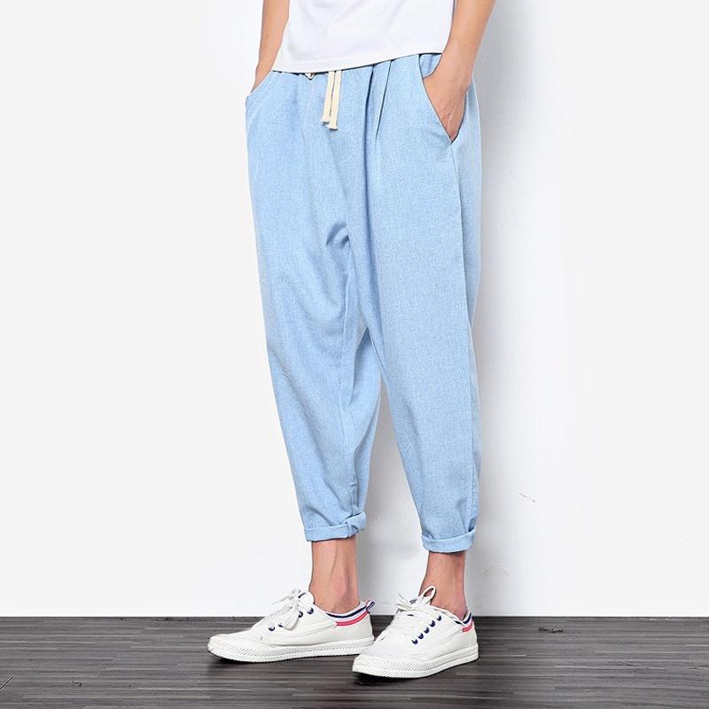 2018 New Summers Linen Pants Men Casual Ankle-Length Harem Pants Solid Linen Cot