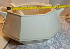 VINTAGE CREAM COLORED SOUP TUREEN W/ COVER AND LADLE GLAZED PORCELAIN image 3