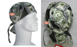 US Money Cash Dollars FITTED TIED HEAD BANDANA TIES Skull Cap Wrap DOO D... - $7.99