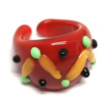 Ring Antica Murrina, Murano Glass, Red, Yellow, Wave, Polka dot Embossed image 1