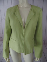 TALBOTS Irish Linen Blazer 8 Lime Open Front Slight Padded Shoulders CLA... - $44.55
