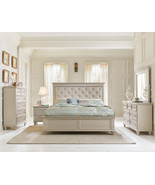 CELINA 5pc Traditional Pearl Silver Bedroom Set w/ Queen Tufted Faux Lea... - $1,687.89